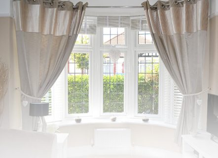 White uPVC bay window interior view